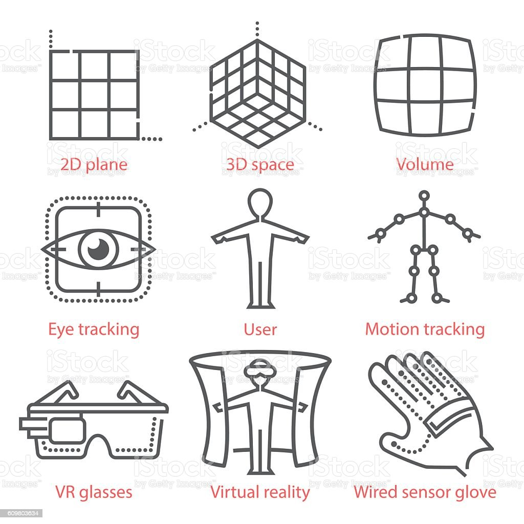 Vector thin line icons set with augmented and virtual reality