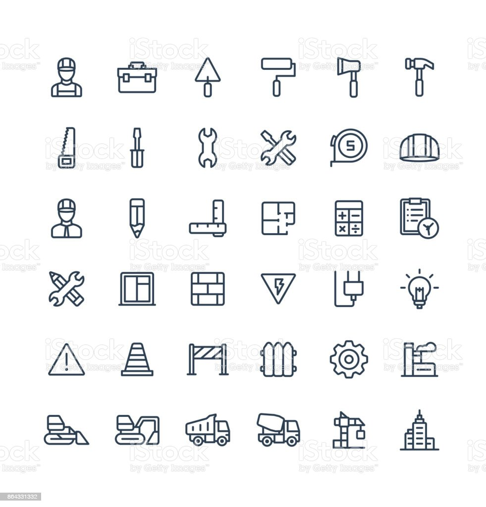 Vector Thin Line Icons Set With Construction Industrial