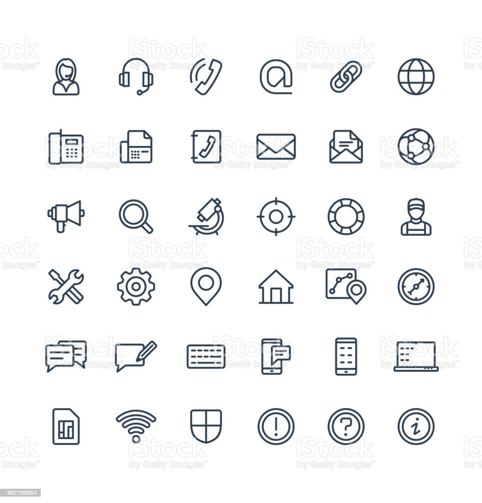Vector thin line icons set with contact us, technical support service outline symbols.