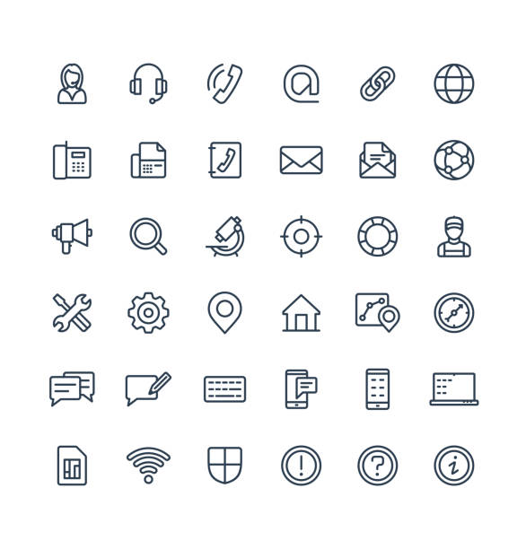 Vector thin line icons set with contact us, technical support service outline symbols. Vector thin line icons set and graphic design elements. Illustration with contact us, technical support service outline symbols. Communication, client call, envelope, customer care linear pictogram conceptual symbol stock illustrations