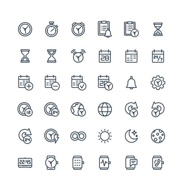 Vector thin line icons set with date and time outline symbols. Vector thin line icons set and graphic design elements. Illustration with date, time outline symbols. Alarm clock, smart watch, stopwatch, timer, organizer, planning and management linear pictogram dating stock illustrations