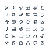 Vector thin line icons set with digital development outline symbols