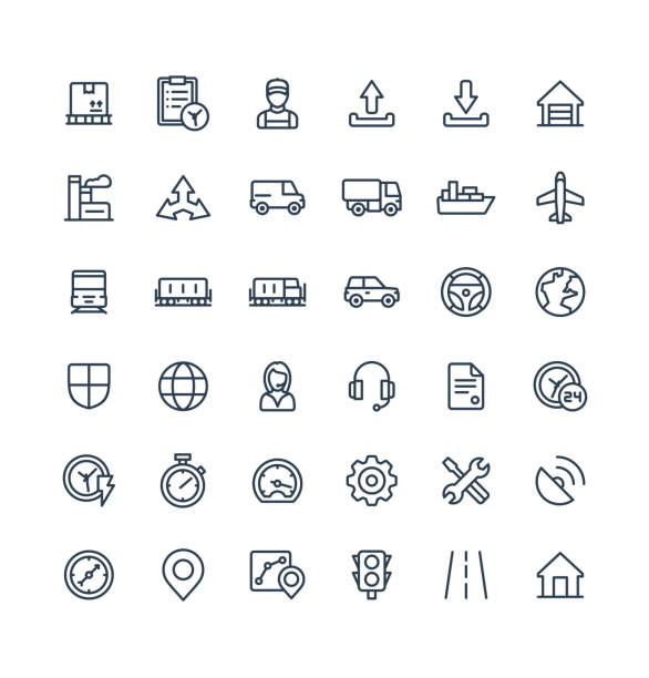 vector thin line icons set with logistic, delivery business, distribution outline symbols. - delivery van stock illustrations, clip art, cartoons, & icons