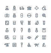 Vector thin line icons set with medical, medicine and healthcare outline symbols.