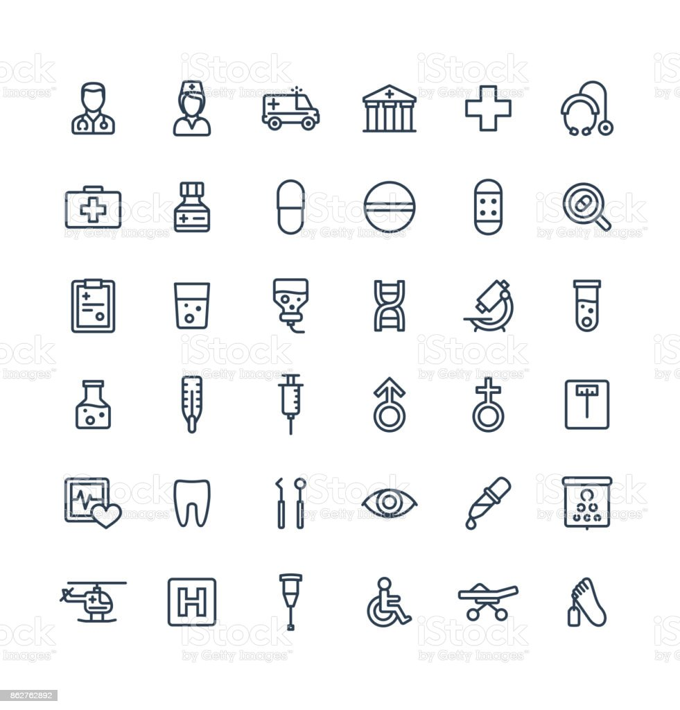 Vector thin line icons set with medical, medicine and healthcare outline symbols. vector art illustration