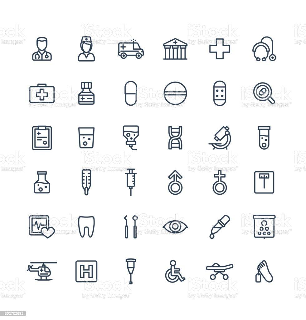 Dünne Linie Vektor-Icons set mit Medizin, Medizin und Gesundheitswesen Gliederungssymbole. – Vektorgrafik