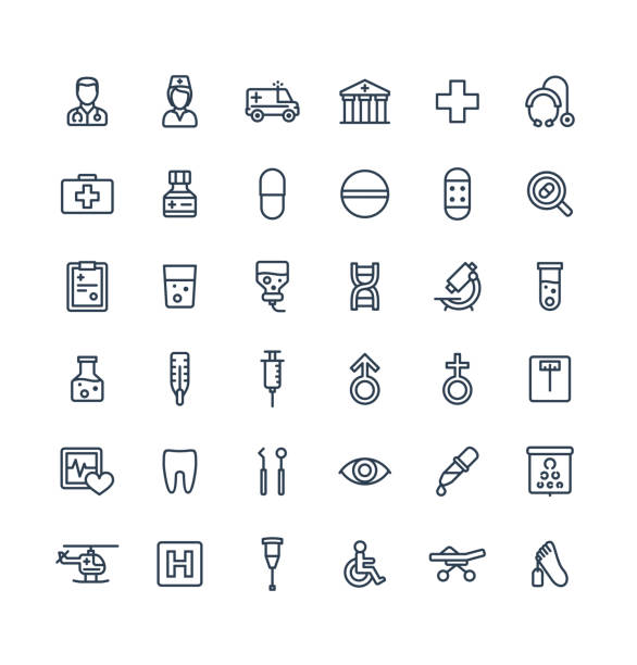 vector thin line icons set with medical, medicine and healthcare outline symbols. - doctors office stock illustrations, clip art, cartoons, & icons