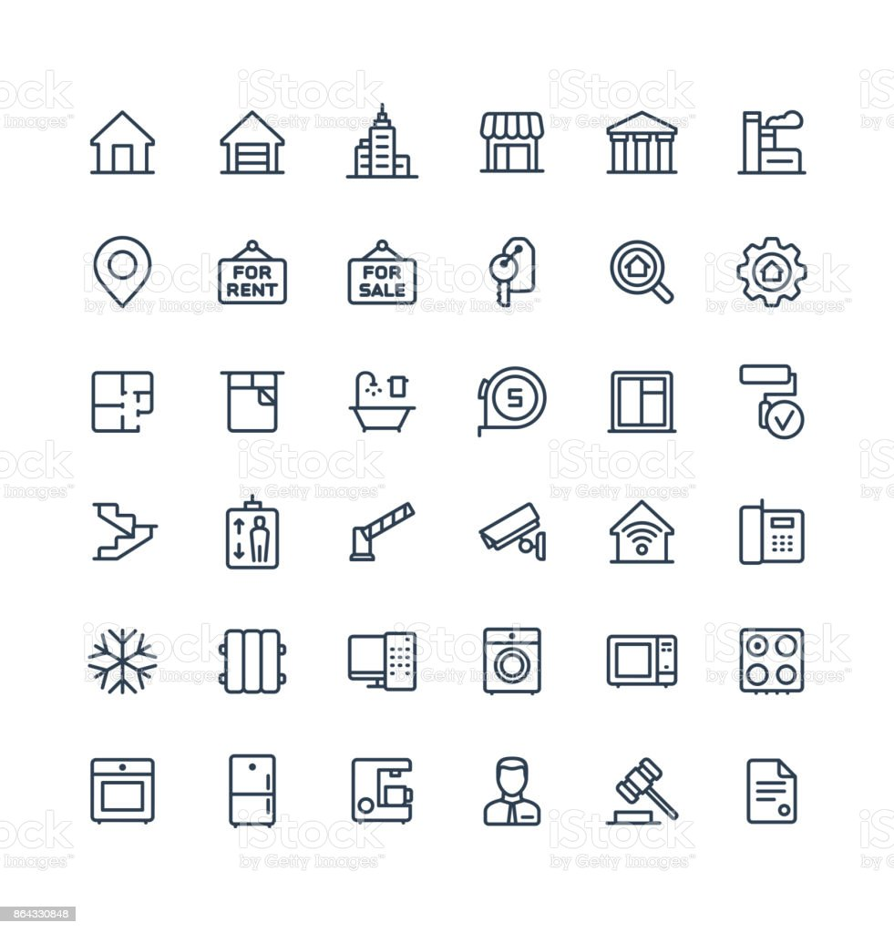 Vector thin line icons set with real estate outline symbols. vector art illustration