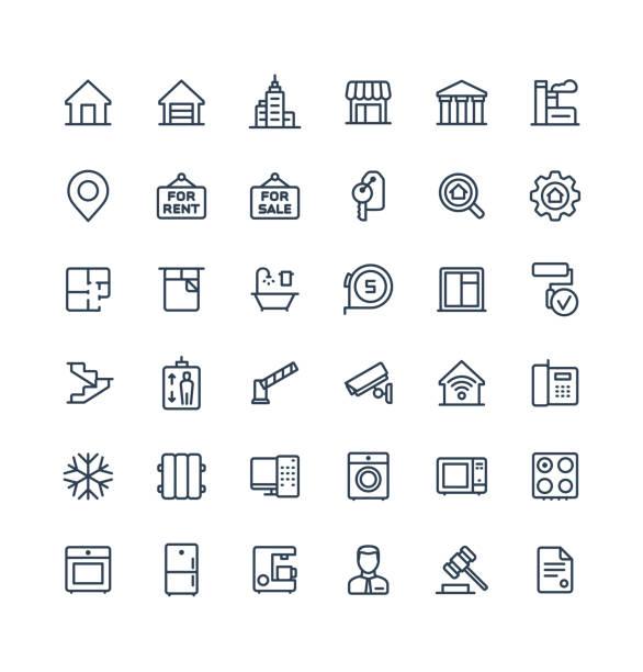 illustrations, cliparts, dessins animés et icônes de vecteur ligne mince icônes définies avec les symboles du plan immobilier. - vitrine magasin
