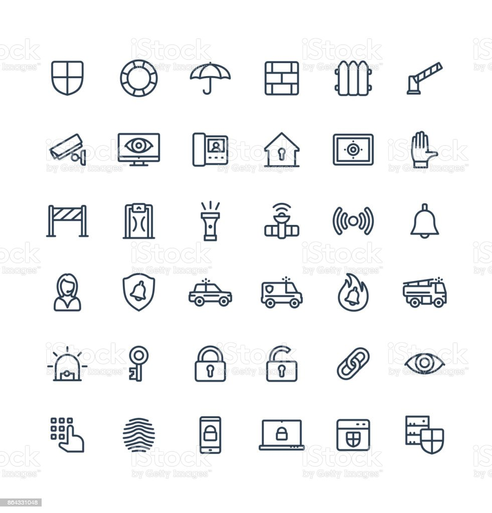 Vector thin line icons set with security, cyber safety outline symbols vector art illustration