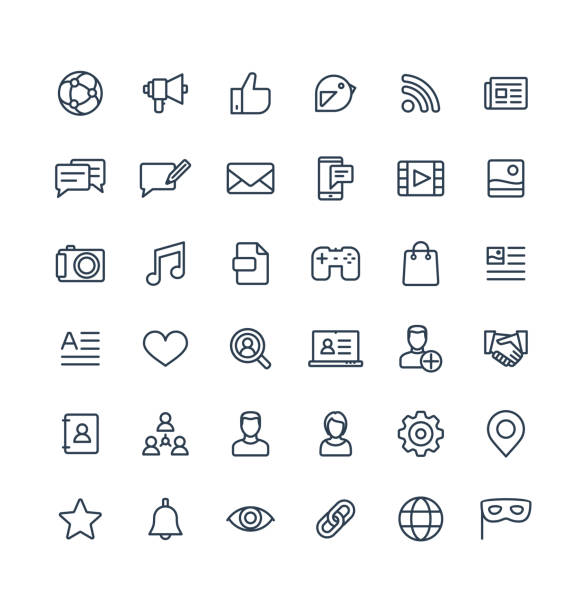 Vector thin line icons set with social media, network outline symbols. Vector thin line icons set and graphic design elements. Social media, network outline symbols illustration. Like, video content, message, comment, subscribe, profile, views, followers linear pictogram conceptual symbol stock illustrations