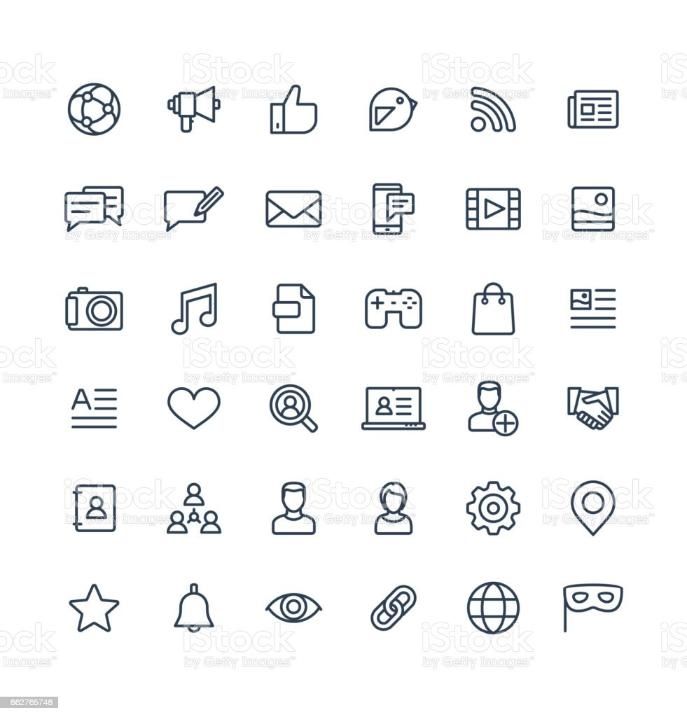 Vector thin line icons set with social media, network outline symbols. vector art illustration