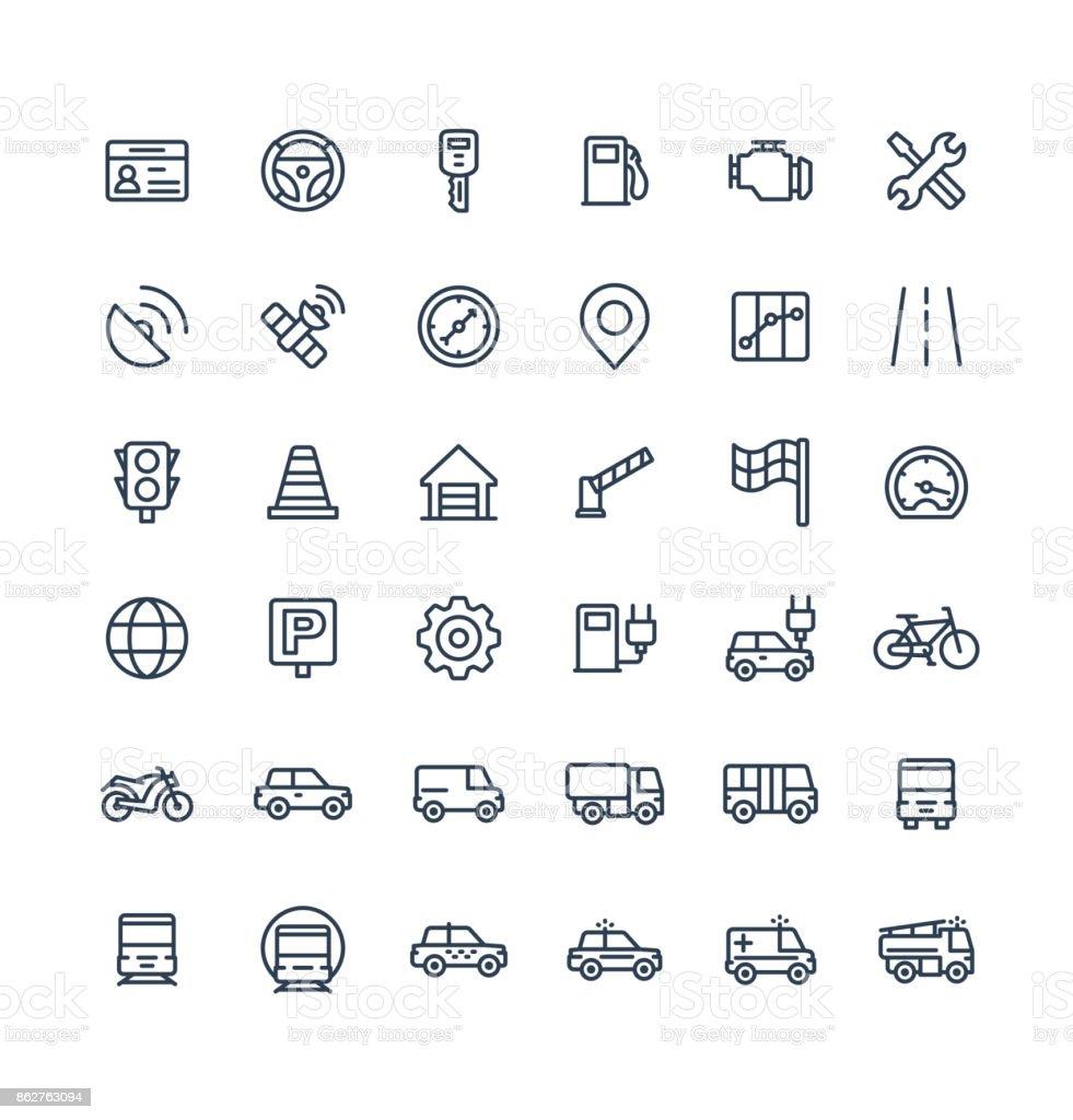 Los iconos de delgada línea vector set con transporte, símbolos de esquema de navegación. - ilustración de arte vectorial