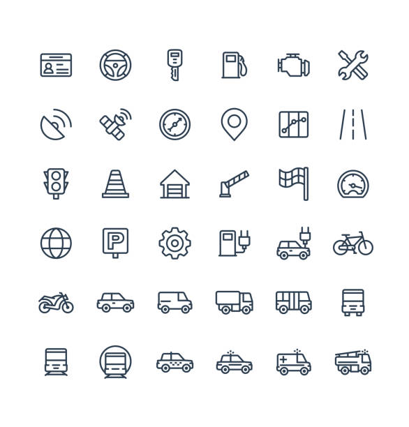 Vector thin line icons set with transport, navigation outline symbols. vector art illustration