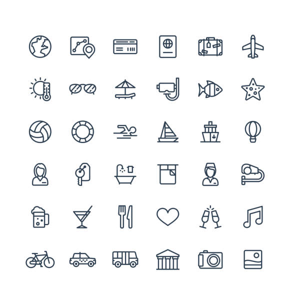 Vector thin line icons set with travel, tourism outline symbols. Summer vacation, hotel room service, luggage, sunglasses linear pictogram Vector thin line icons set and graphic design elements. Illustration with travel, tourism outline symbols. Summer vacation, hotel room service, luggage, sunglasses, passport, resort linear pictogram patio stock illustrations