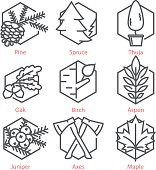 Vector thin line icons set with trees for nature