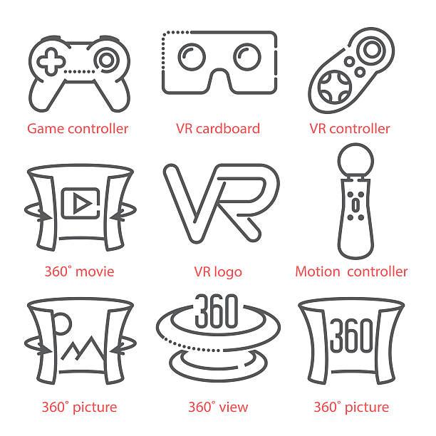 Vector thin line icons set with Virtual Reality equipment – Vektorgrafik