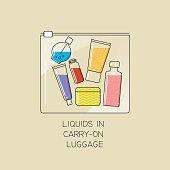 Vector thin line illustration of the permissible packaging of liquid in carry-on luggage in airport. Transparent plastic bag with colored bottles inside.