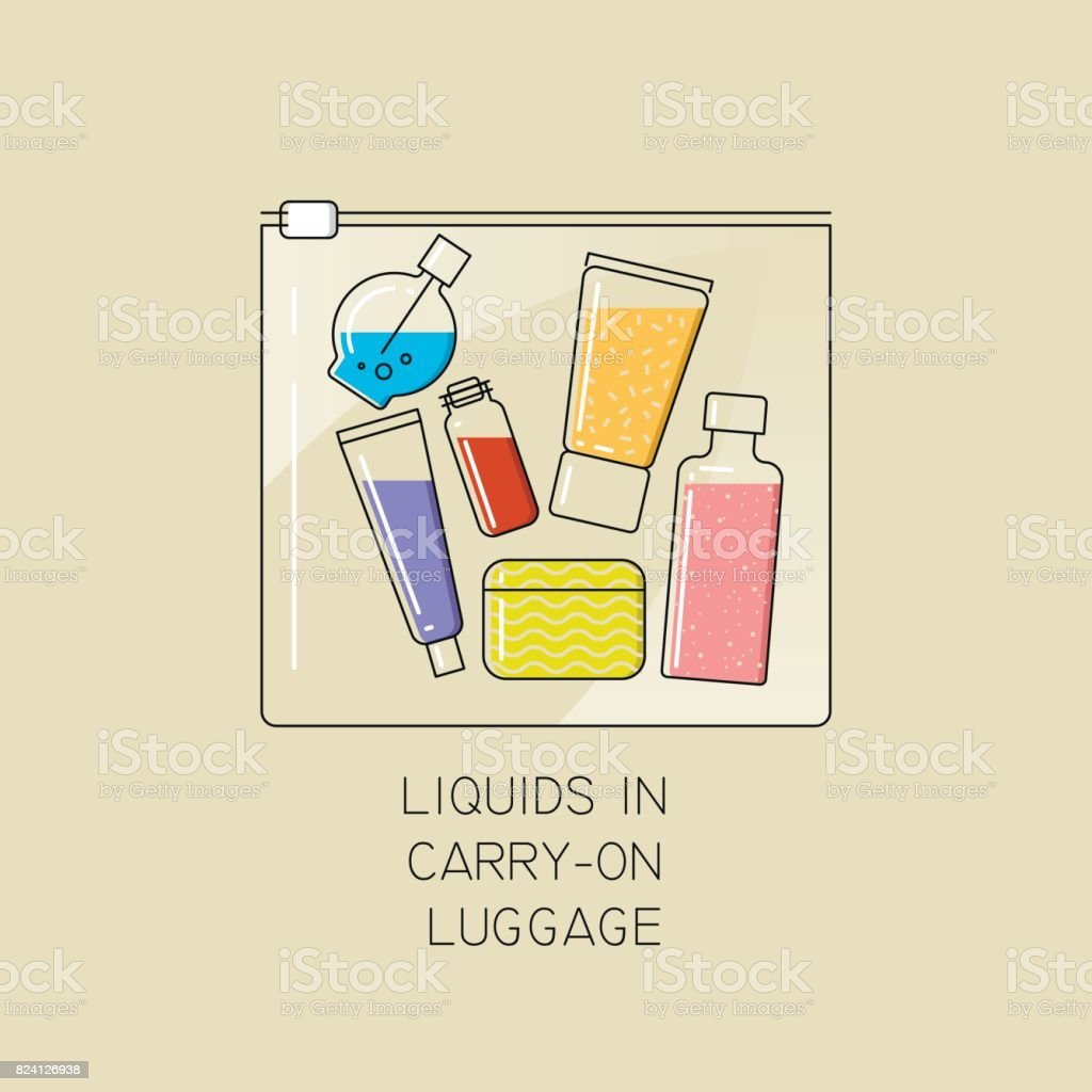 Vector thin line illustration of the permissible packaging of liquid in carry-on luggage in airport. vector art illustration