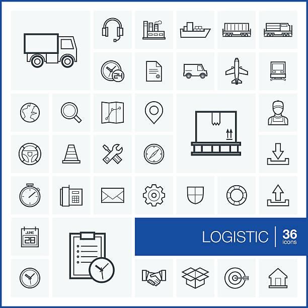 dünne linie vektor-transport-icons und design-elemente-set - frachtpaletten stock-grafiken, -clipart, -cartoons und -symbole