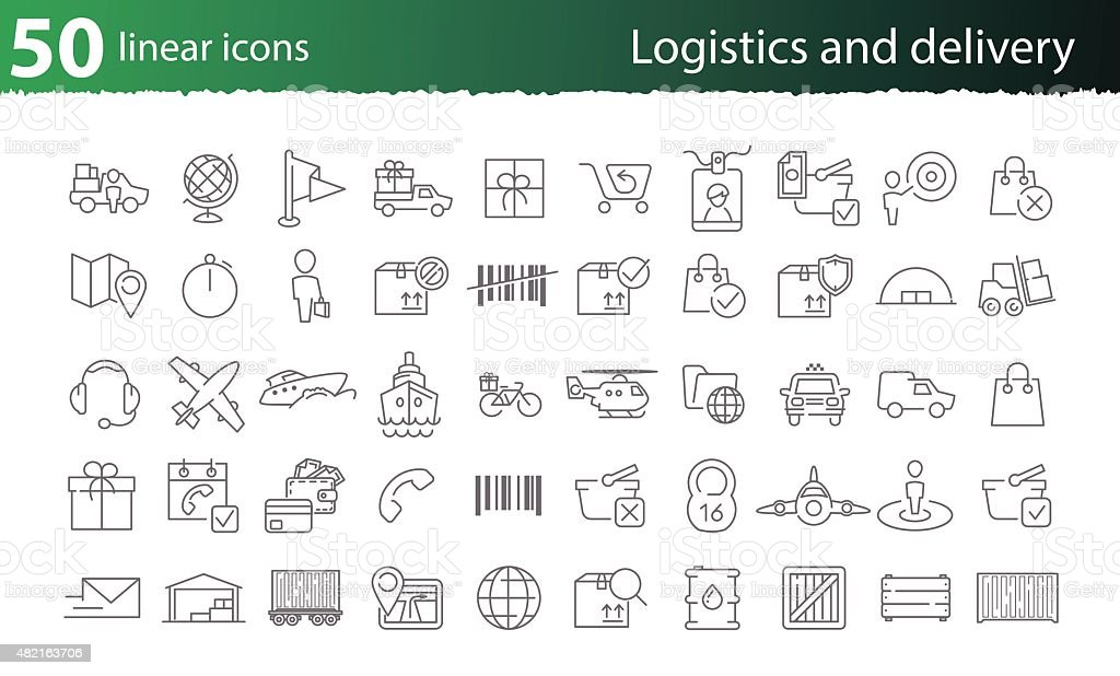 Vector thin line logistics and delivery set vector art illustration