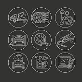 Vector thin line pictogram symbols of car service