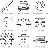 Vector thin line police icons for infographics and games UX/UI