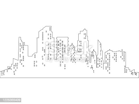 vector Thin line style city panorama on white background. Outline cityscape