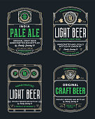 Vector vintage beer thin line labels and packaging design templates. Brewing company branding and identity design elements.