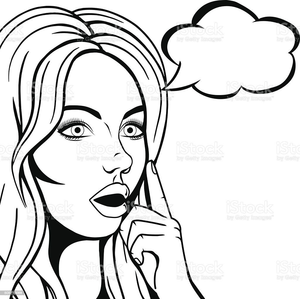 Line Drawing Of Child S Face : Vector thinking woman face with open mouth graphic sketch