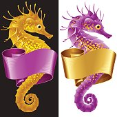 Vector Thorny Seahorse is Wrapped in Swirl Ribbon. Set of Hippocampus and Banner Frame Isolated on Background. Colorful Horse Fish Icon for Beach Party, Sea Vacation, Tourism, Diving, Restaurants