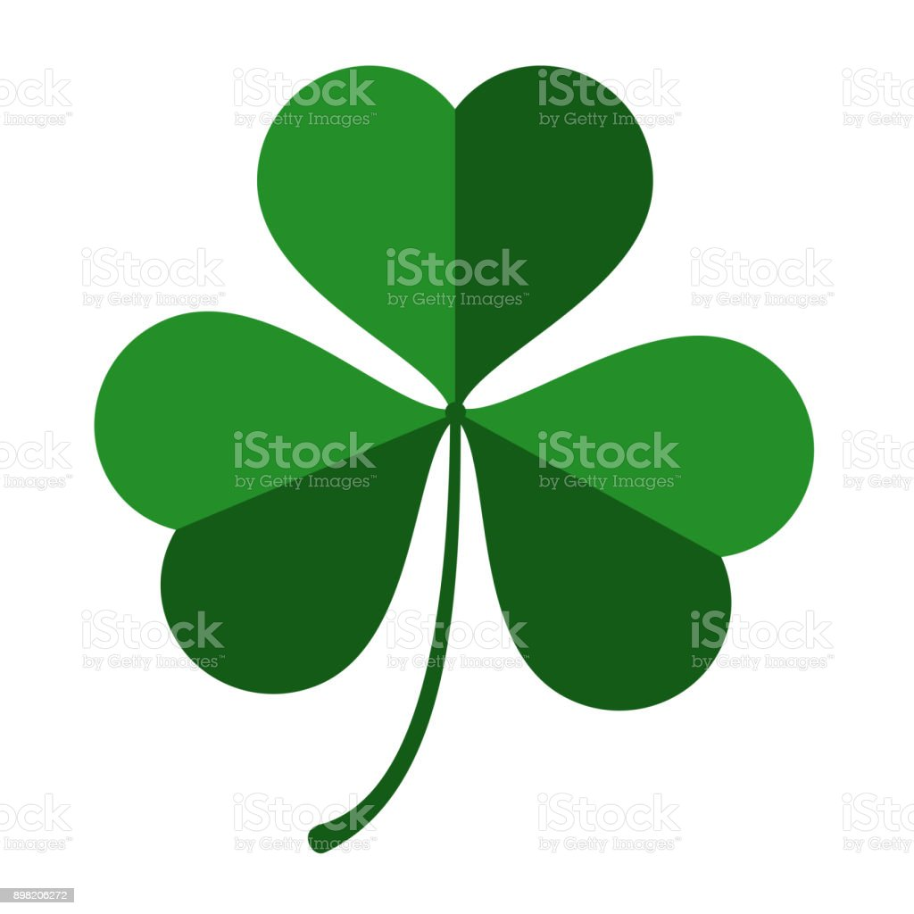 Vector three leaf green clover leaf for St. Patrick's day isolated on white background vector art illustration