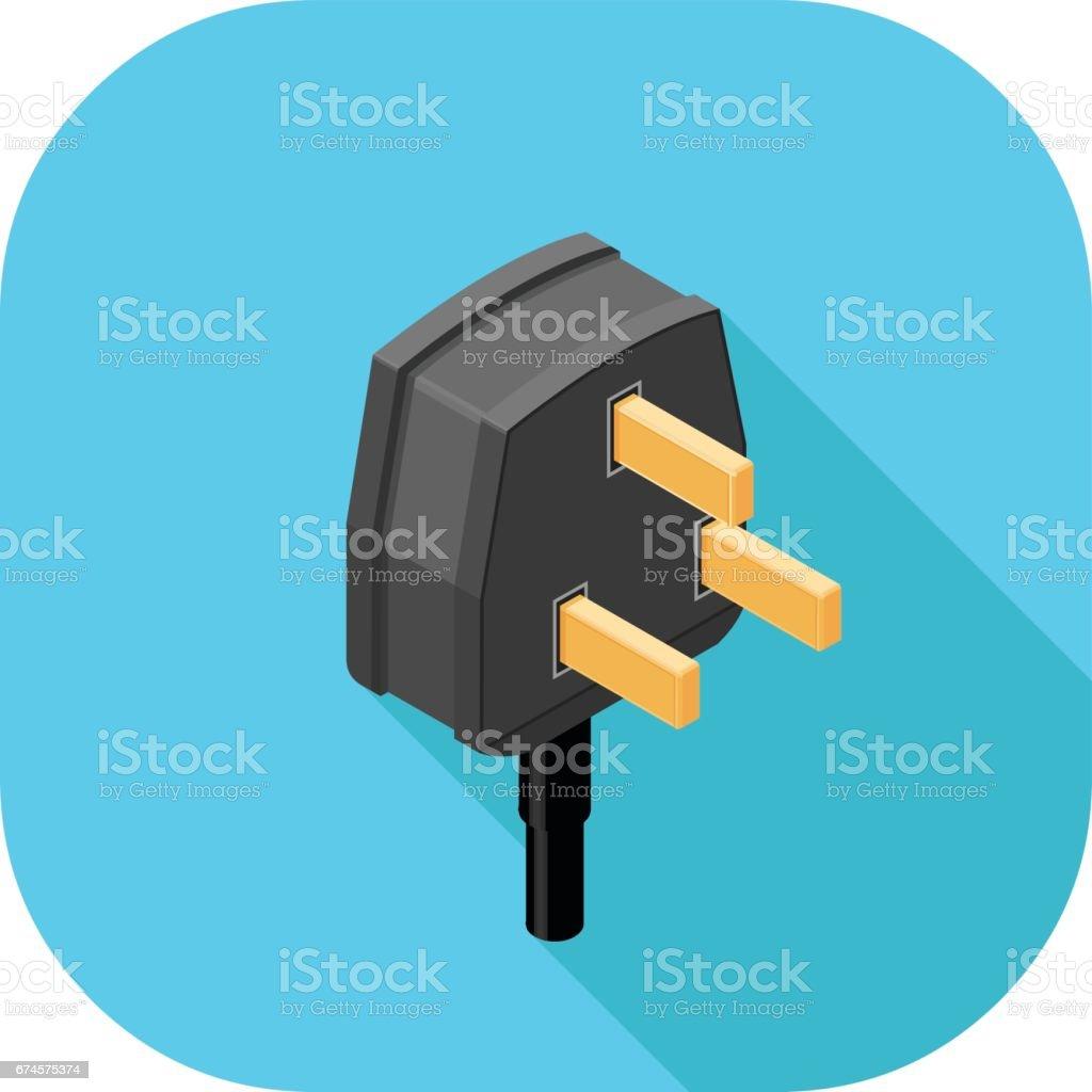 Vector Three Pin Plug Icon stock vector art 674575374 | iStock