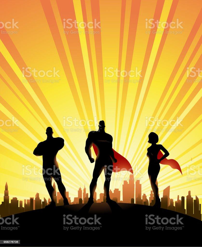 Vetores De Vetor 3 Superherois Silhueta Com Fundo De Skyline