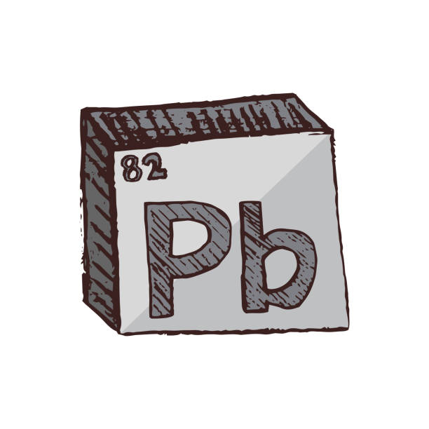Vector three-dimensional hand drawn chemical gray silver symbol of lead or plumbum with an abbreviation Pb from the periodic table of the elements isolated on a white background. Vector symbol of the element lead Pb. It is a heavy, toxic and soft metal. It has a low melting point, is malleable and corrosion-resistant. The lead element is isolated on a white background. lead poisoning stock illustrations