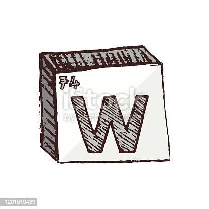Vector symbol of the element tungsten W. It is very heavy and extremely difficult to melt metal. This metal finds application either as a component of various alloys or as a bulb material. The tungsten element is isolated on a white background.