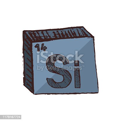 istock Vector three-dimensional hand drawn chemical symbol of silicon with an abbreviation Si from the periodic table of the elements isolated on a white background. 1179167724