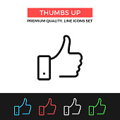 Vector thumbs up icon. Like concepts. Premium quality graphic design. Modern linear stroke signs, pictograms, outline symbols collection, simple thin line icons set for websites, web design, mobile app