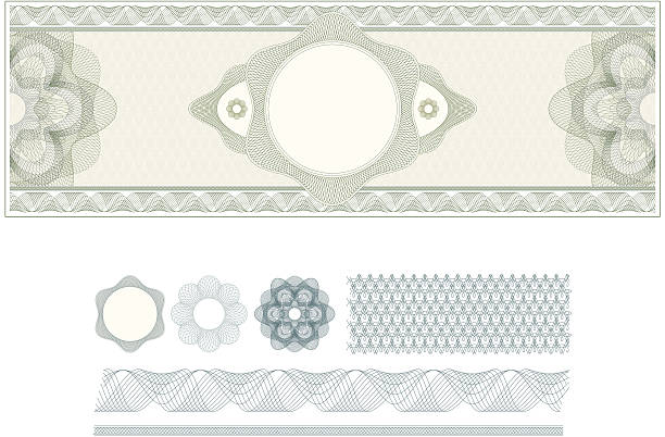 Vector Ticket Design D Complex vector pattern that is used in currency and diplomas. Color and layers can be customized. engraved image stock illustrations