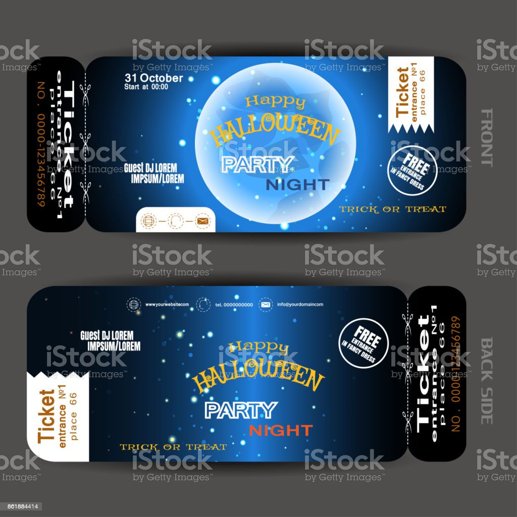 Vector Ticket To Happy Halloween Night Party With Blue Full Moon, Stars,  White Stripes