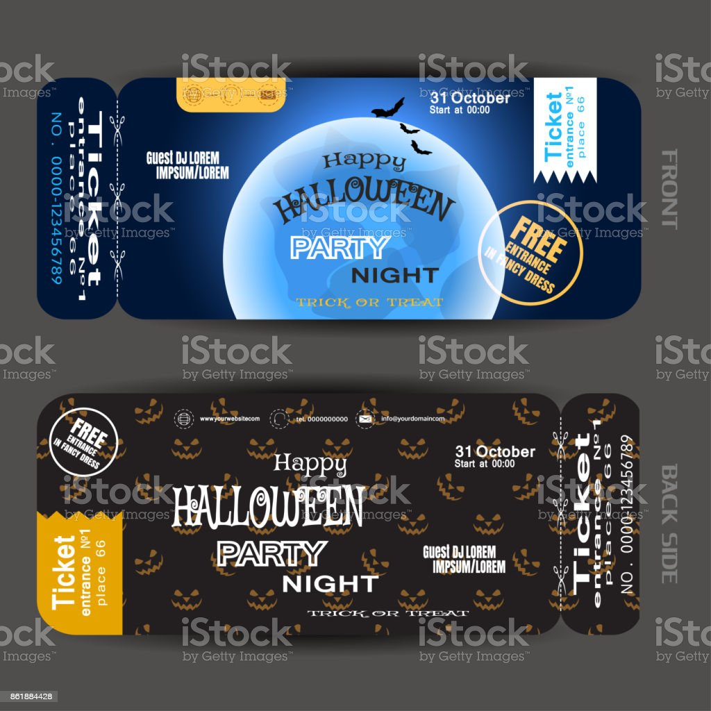 Vector Ticket To Happy Halloween Night Party With Blue Full Moon, Stripes,  Stamp,