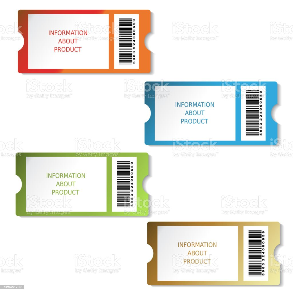 Vector tickets, labels for product, sale information, pricetag with barcode - Grafika wektorowa royalty-free (Bilet)