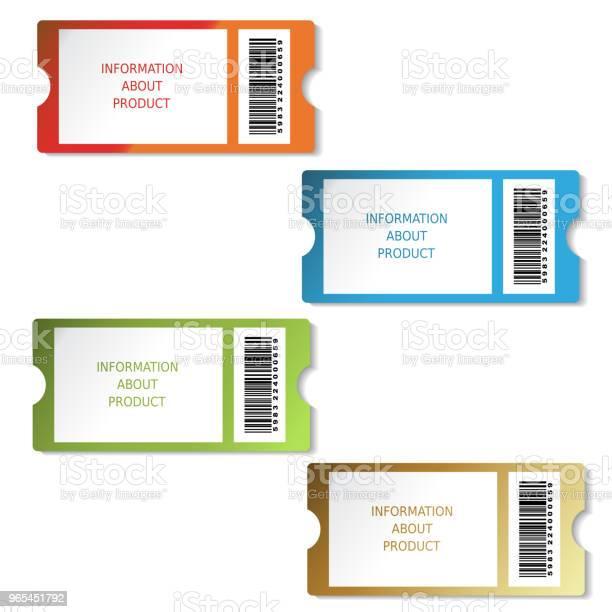 Bilety Wektorowe Etykiety Na Produkt Informacje O Sprzedaży Pricetag Z Kodem Kreskowym - Stockowe grafiki wektorowe i więcej obrazów Bilet