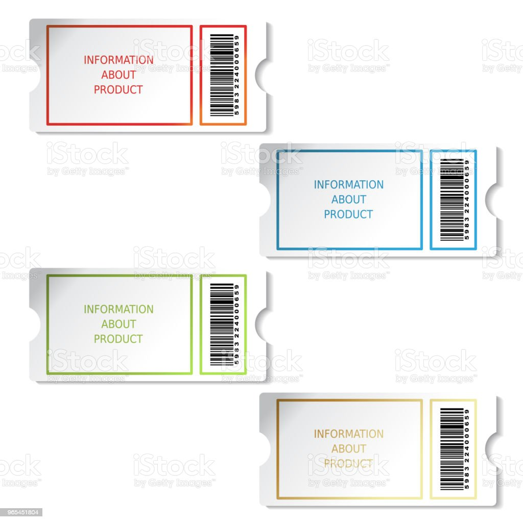 Vector tickets, labels for product, sale information, pricetag with barcode vector tickets labels for product sale information pricetag with barcode - stockowe grafiki wektorowe i więcej obrazów bilet royalty-free