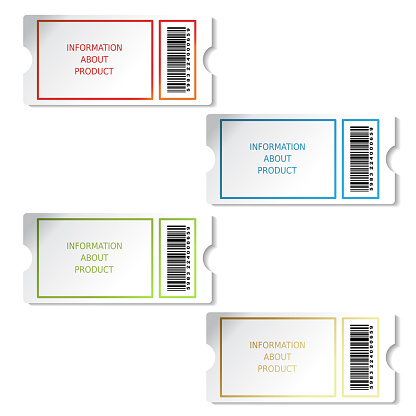 벡터 티켓 제품 판매 정보 바코드와 Pricetag에 대 한 레이블 공란에 대한 스톡 벡터 아트 및 기타 이미지