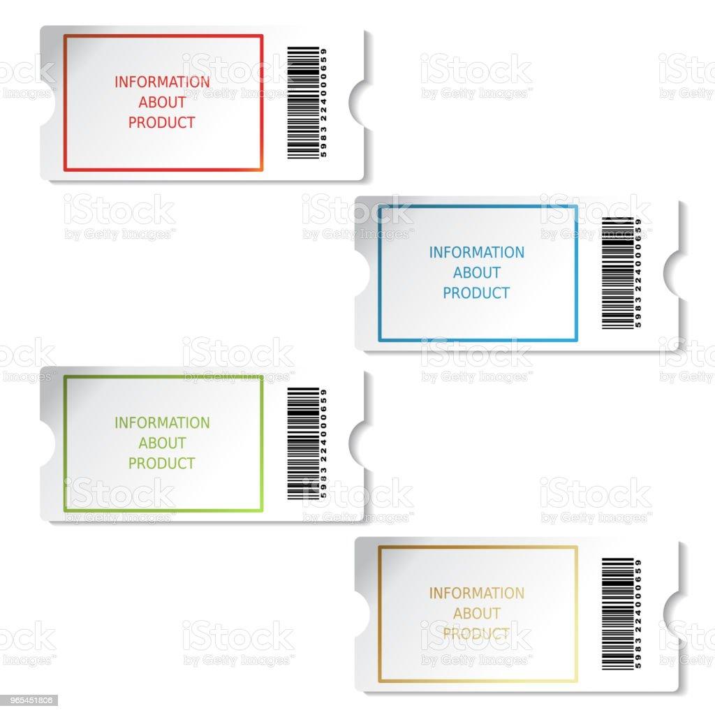 벡터 티켓, 제품, 판매 정보, 바코드와 pricetag에 대 한 레이블 - 로열티 프리 공란 벡터 아트