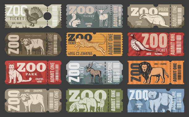 Vector tickets of zoo park animals and birds Zoo tickets for zoological park admit with wild animals. Vector vintage design of African lion, hippopotamus or puma and bear, elk or buffalo with wolf or fox and squirrel red deer animal stock illustrations