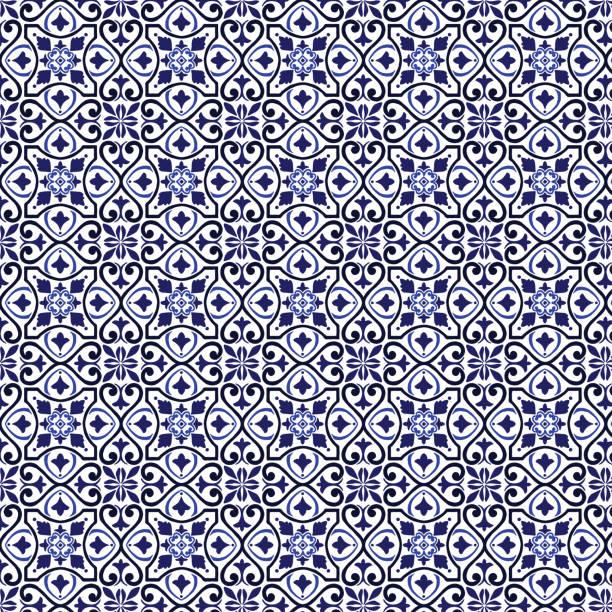 wzór płytek wektorowych, mozaika z arabskiego kwiatu lizbony, śródziemnomorska błękitna ozdoba z bezszwową granatową - kultura portugalska stock illustrations