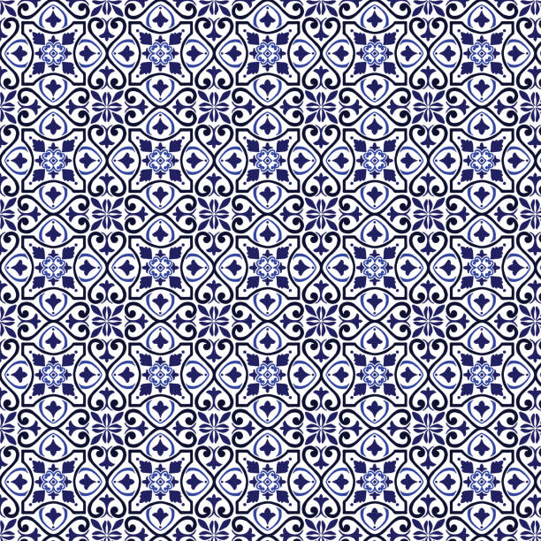 vector tile pattern, lisbon arabic floral mosaic, mediterranean seamless navy blue ornament - lizbona stock illustrations