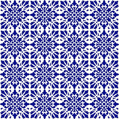 Vector tile pattern, Lisbon Arabic Floral Mosaic, Mediterranean Seamless Navy Blue Ornament